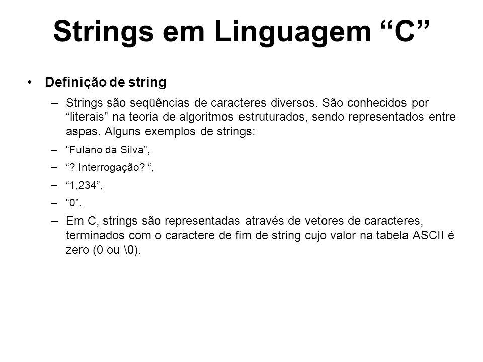 Strings em Linguagem C