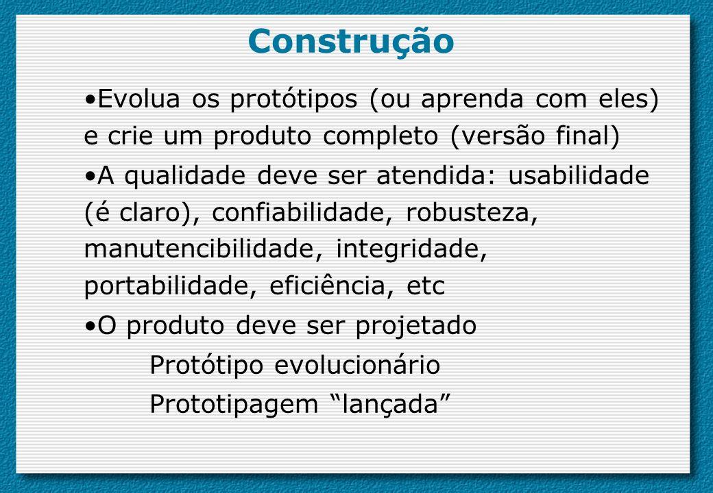 Construção Evolua os protótipos (ou aprenda com eles) e crie um produto completo (versão final)