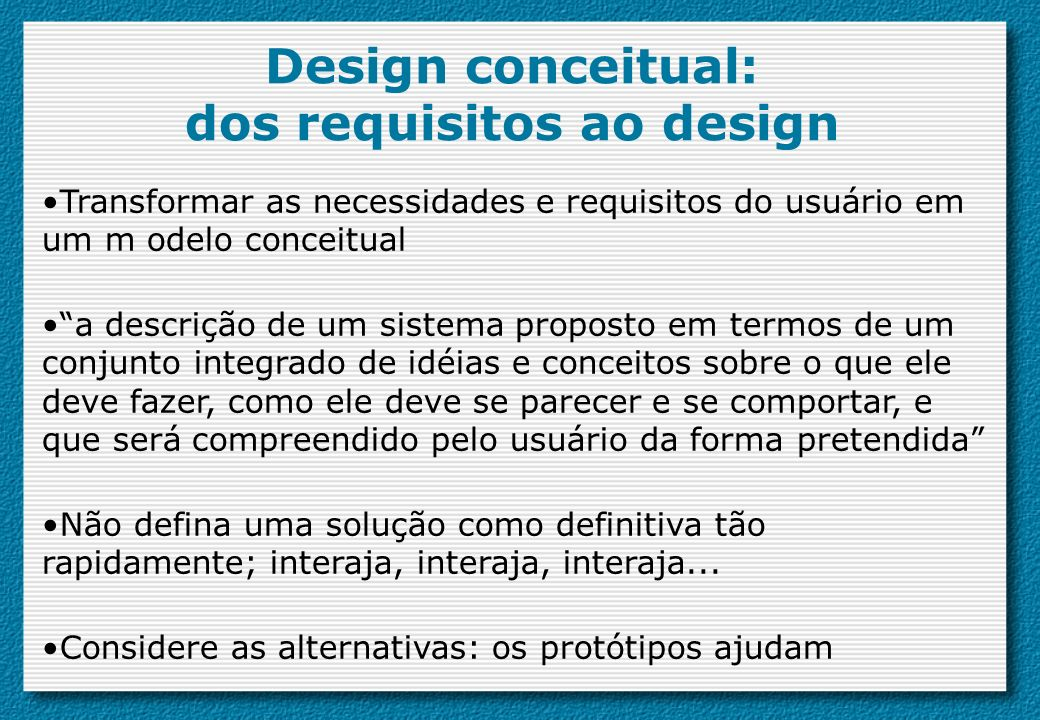 Design conceitual: dos requisitos ao design