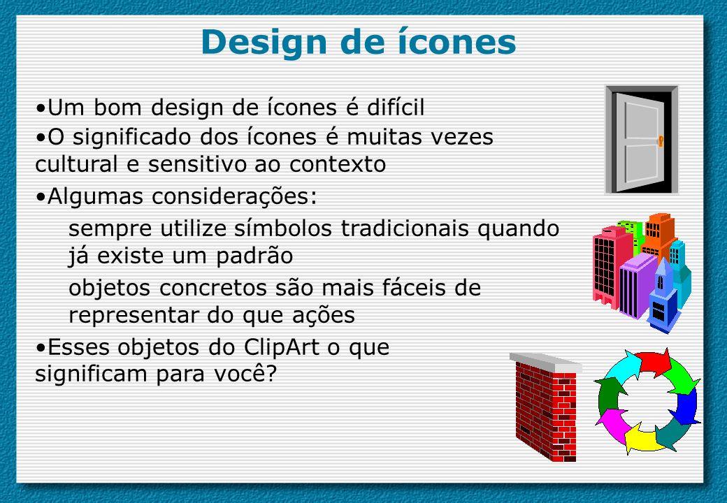 Design de ícones Um bom design de ícones é difícil