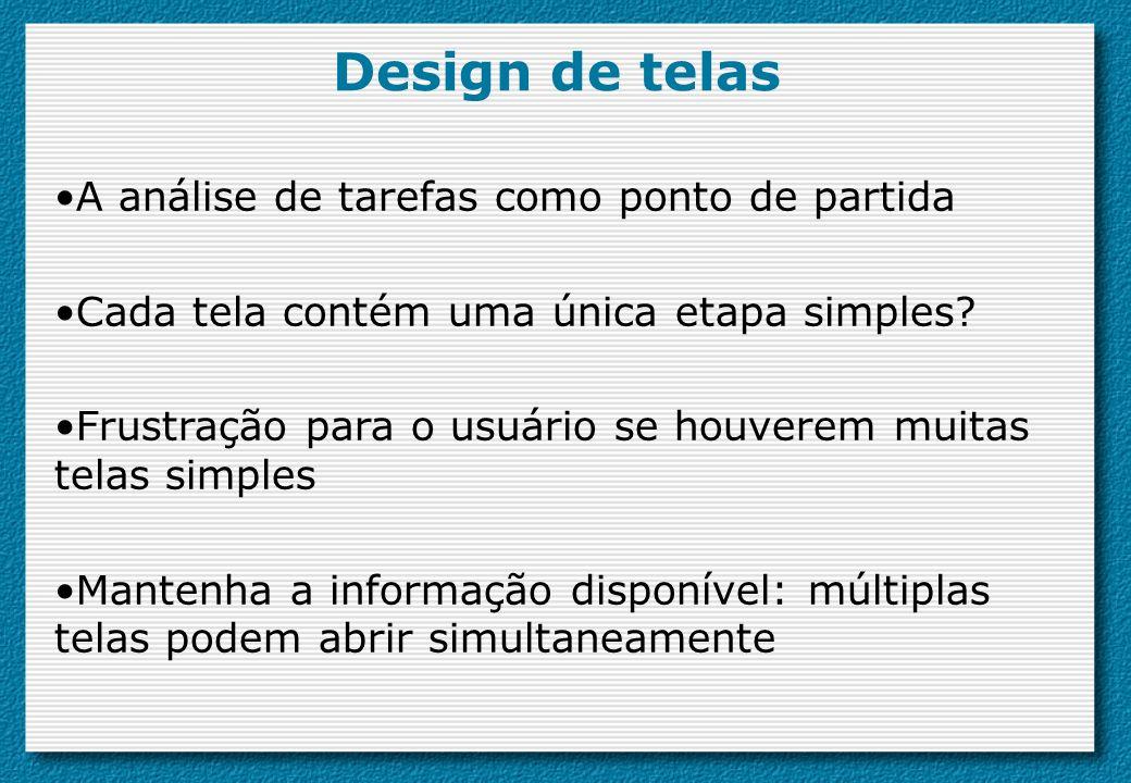 Design de telas A análise de tarefas como ponto de partida