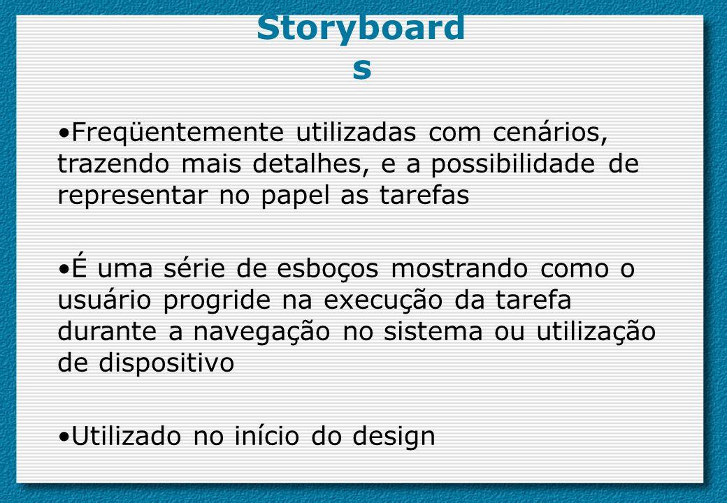 Storyboards Freqüentemente utilizadas com cenários, trazendo mais detalhes, e a possibilidade de representar no papel as tarefas.