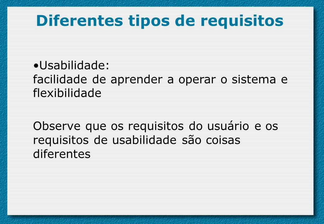 Diferentes tipos de requisitos