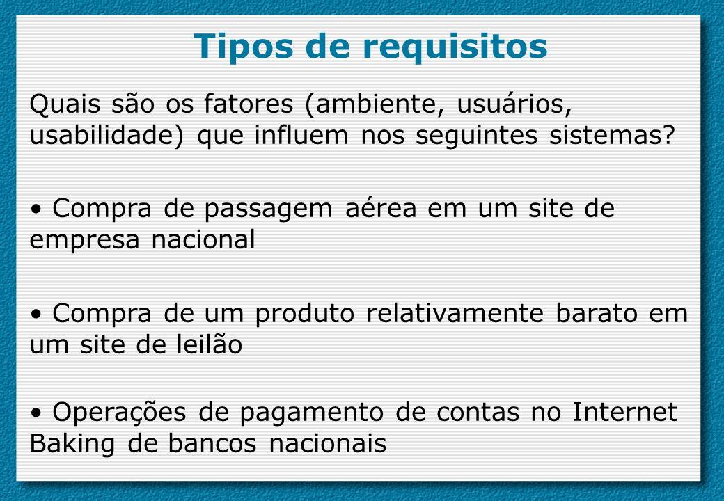 Tipos de requisitos Quais são os fatores (ambiente, usuários, usabilidade) que influem nos seguintes sistemas