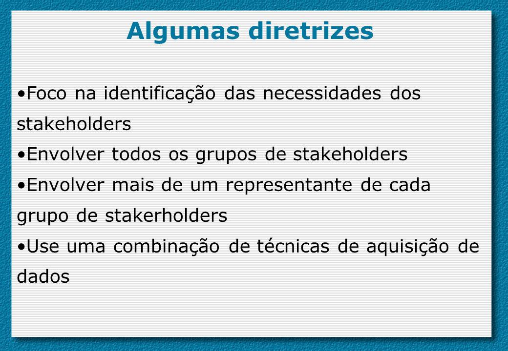 Algumas diretrizes Foco na identificação das necessidades dos stakeholders. Envolver todos os grupos de stakeholders.