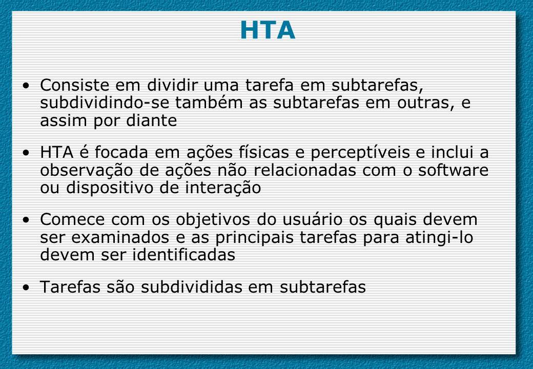 HTA Consiste em dividir uma tarefa em subtarefas, subdividindo-se também as subtarefas em outras, e assim por diante.