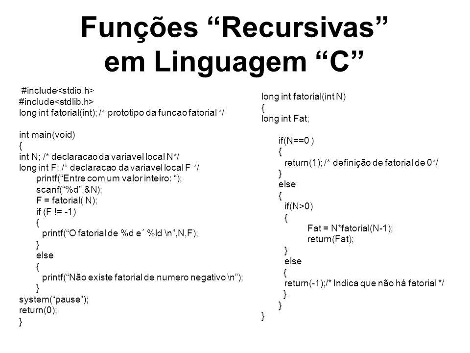 Funções Recursivas em Linguagem C