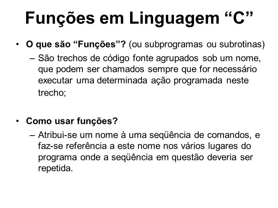 Funções em Linguagem C
