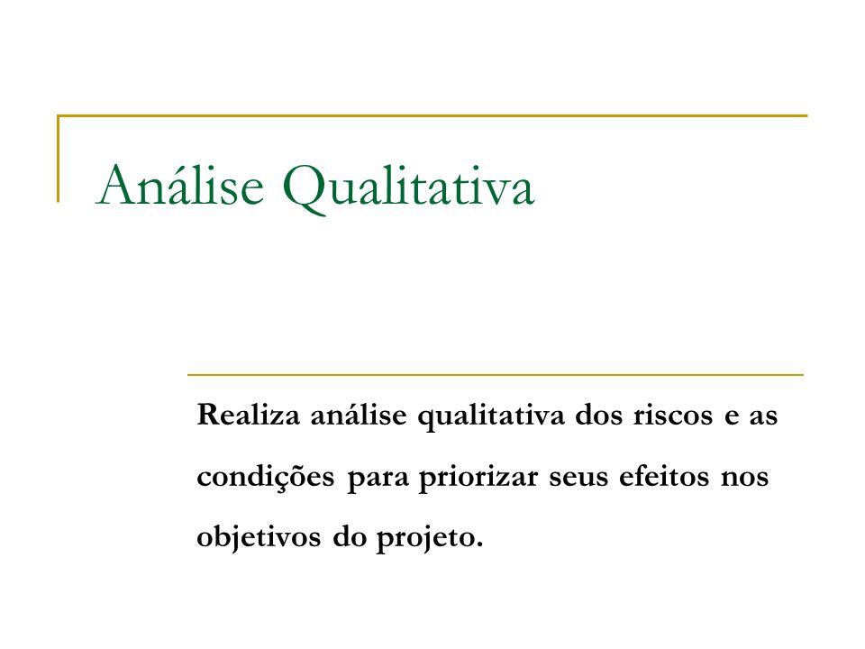 Análise Qualitativa Realiza análise qualitativa dos riscos e as condições para priorizar seus efeitos nos objetivos do projeto.