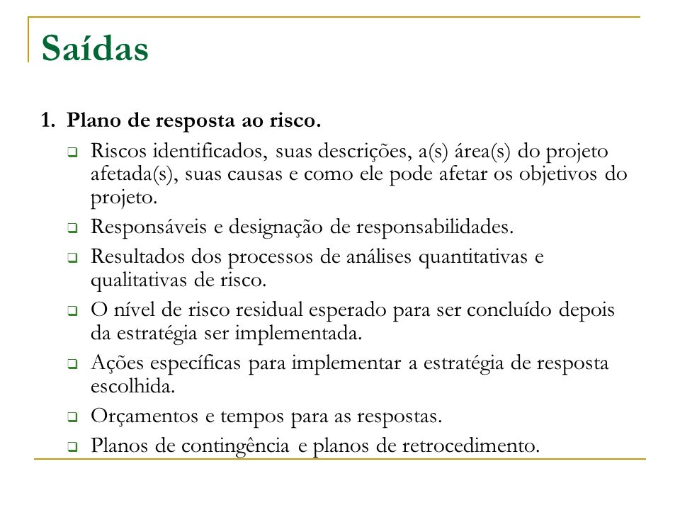 Saídas 1. Plano de resposta ao risco.