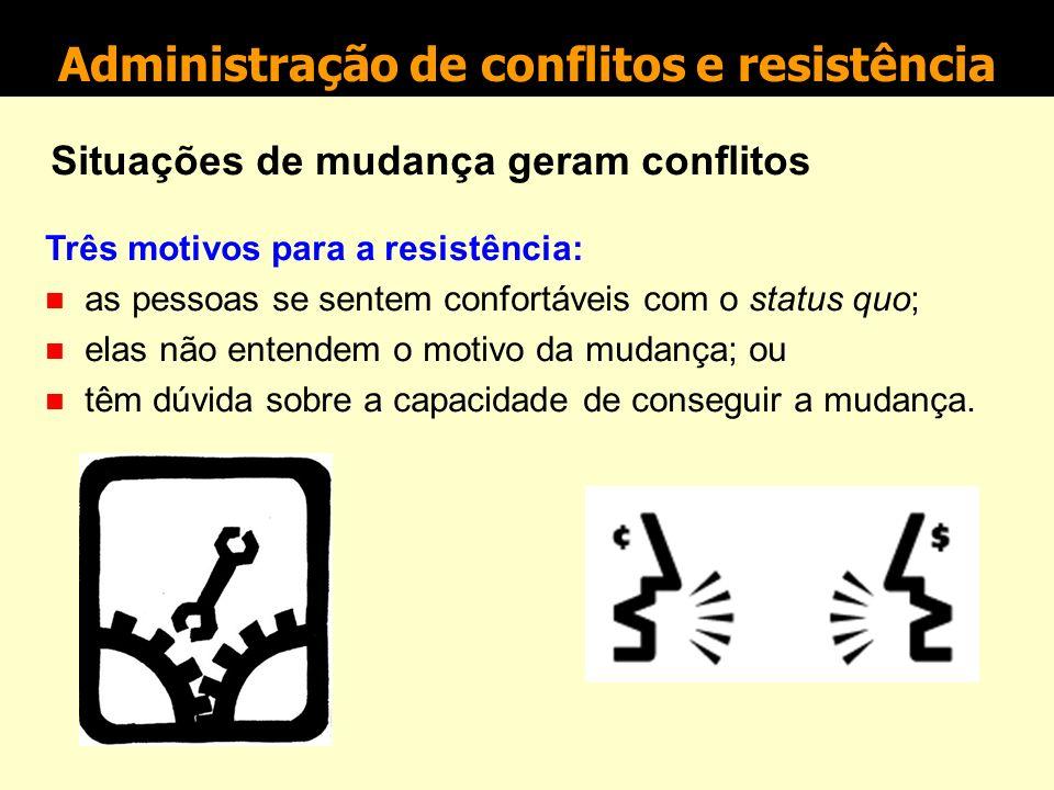Administração de conflitos e resistência