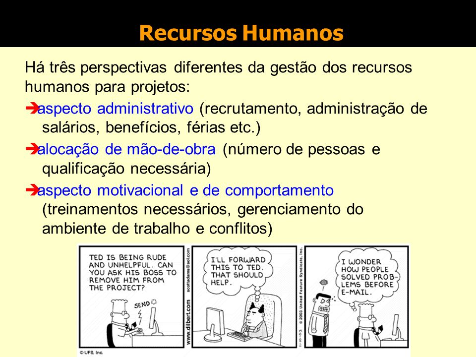 Recursos Humanos Há três perspectivas diferentes da gestão dos recursos humanos para projetos: