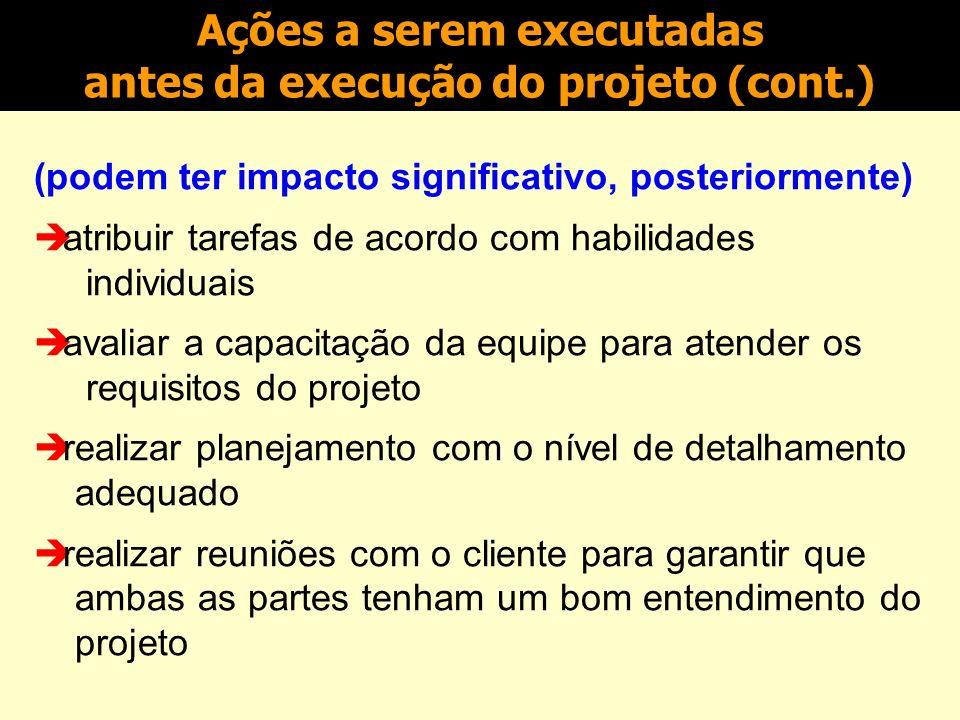 Ações a serem executadas antes da execução do projeto (cont.)