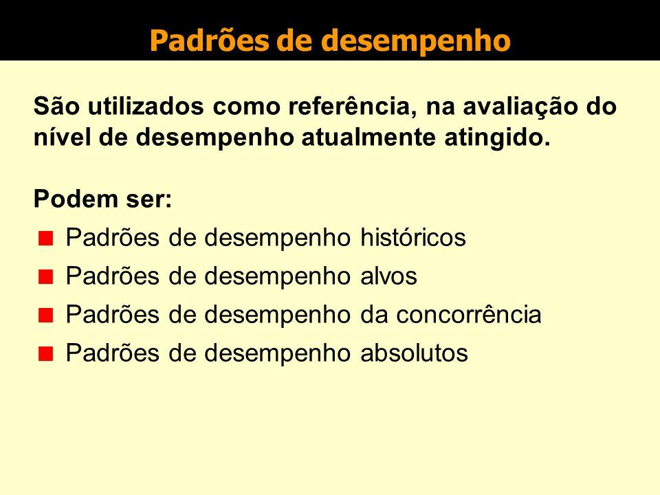 Padrões de desempenho São utilizados como referência, na avaliação do nível de desempenho atualmente atingido.