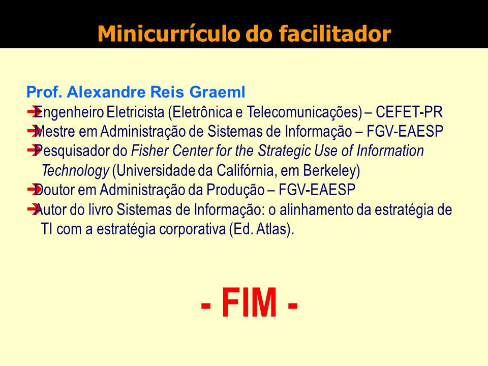 Minicurrículo do facilitador