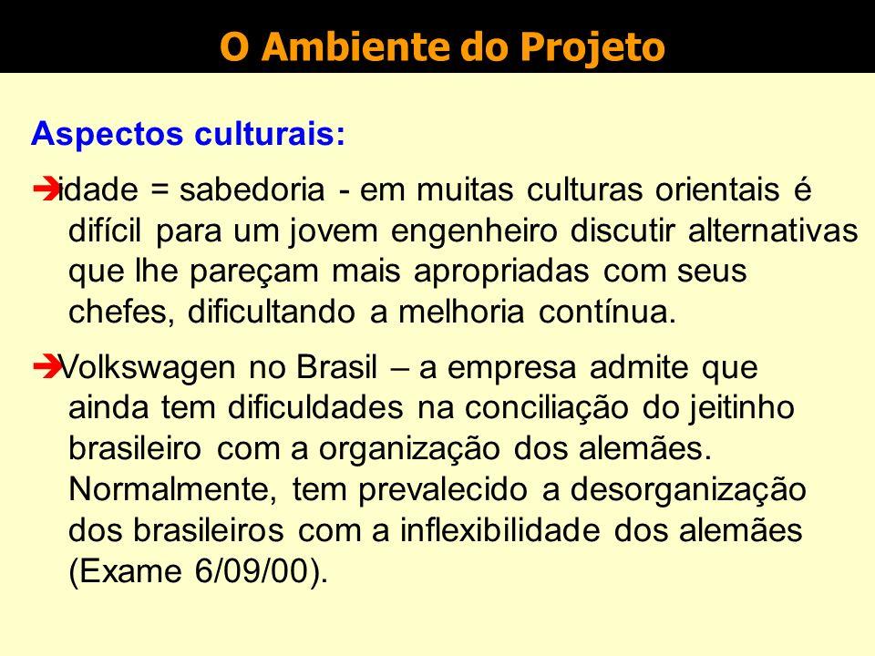 O Ambiente do Projeto Aspectos culturais: