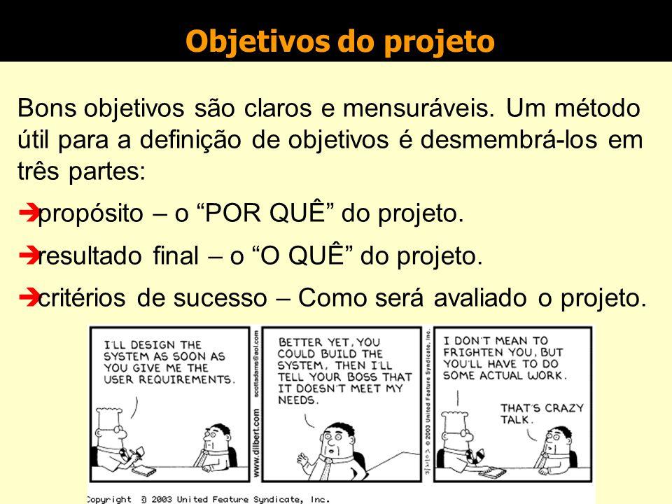 Objetivos do projeto Bons objetivos são claros e mensuráveis. Um método útil para a definição de objetivos é desmembrá-los em três partes: