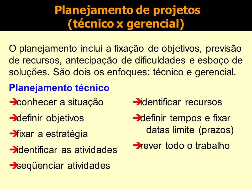 Planejamento de projetos (técnico x gerencial)