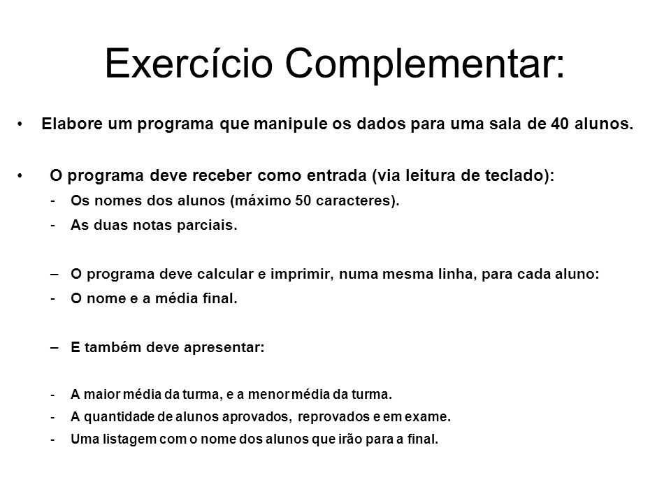Exercício Complementar:
