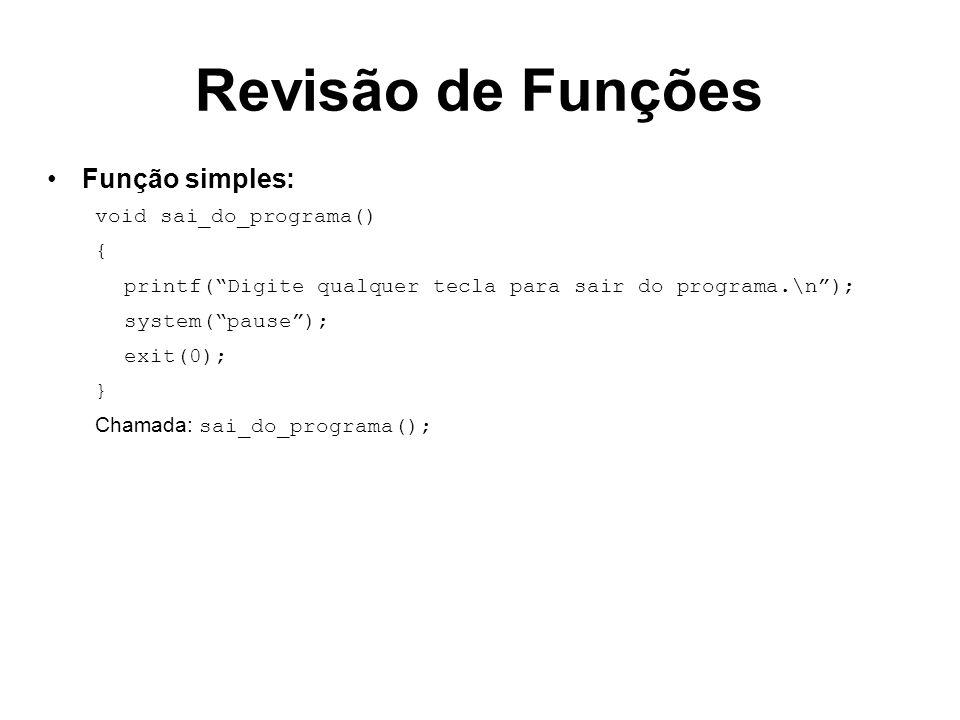 Revisão de Funções Função simples: void sai_do_programa() {