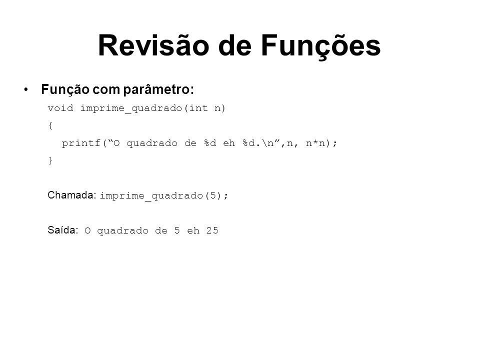 Revisão de Funções Função com parâmetro: void imprime_quadrado(int n)