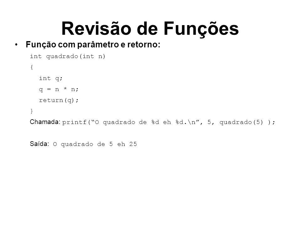 Revisão de Funções Função com parâmetro e retorno: int quadrado(int n)