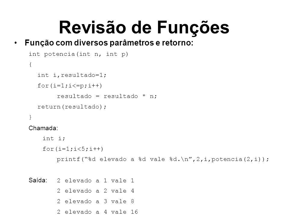 Revisão de Funções Função com diversos parâmetros e retorno: