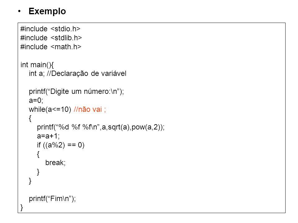 Exemplo #include <stdio.h> #include <stdlib.h>