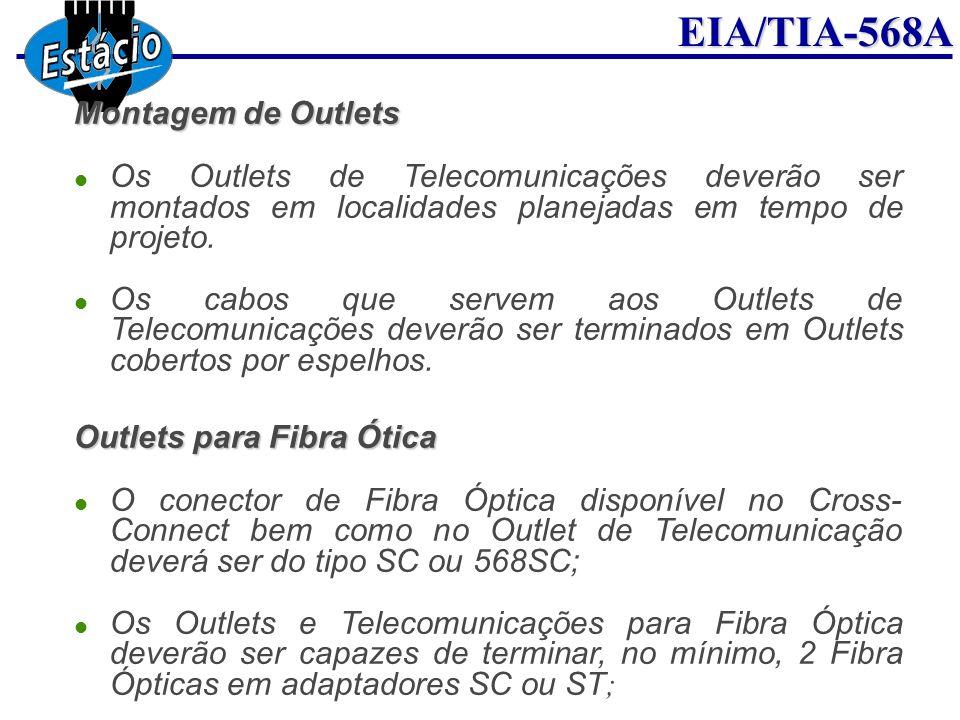 Montagem de Outlets Os Outlets de Telecomunicações deverão ser montados em localidades planejadas em tempo de projeto.