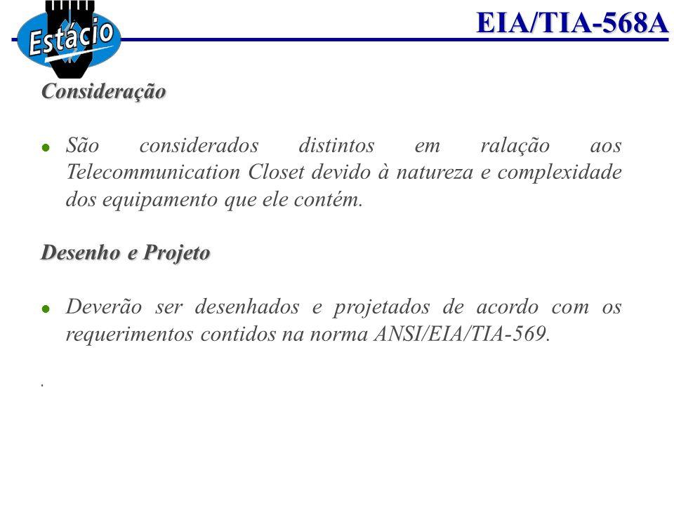ConsideraçãoSão considerados distintos em ralação aos Telecommunication Closet devido à natureza e complexidade dos equipamento que ele contém.
