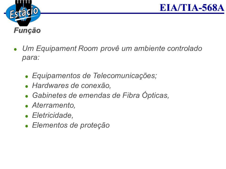 Função Um Equipament Room provê um ambiente controlado para: Equipamentos de Telecomunicações; Hardwares de conexão,