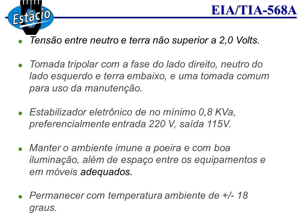 Tensão entre neutro e terra não superior a 2,0 Volts.