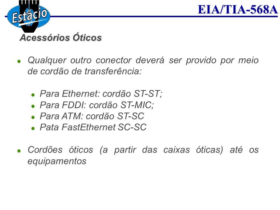 Acessórios Óticos Qualquer outro conector deverá ser provido por meio de cordão de transferência: Para Ethernet: cordão ST-ST;