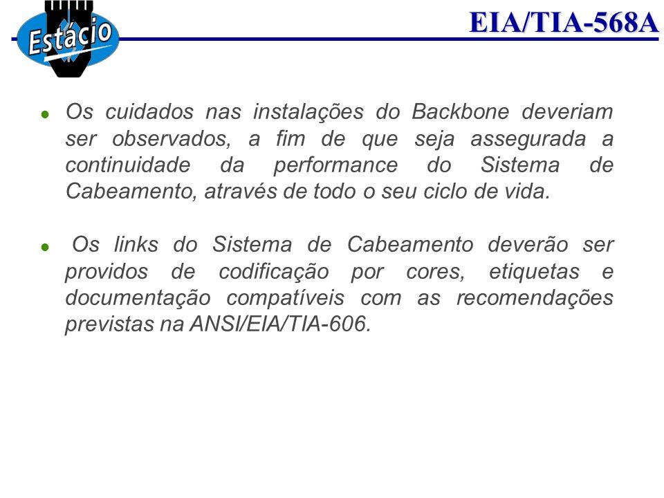 Os cuidados nas instalações do Backbone deveriam ser observados, a fim de que seja assegurada a continuidade da performance do Sistema de Cabeamento, através de todo o seu ciclo de vida.