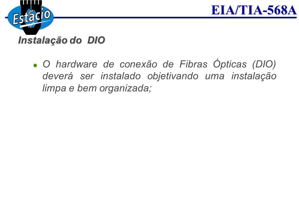 Instalação do DIO O hardware de conexão de Fibras Ópticas (DIO) deverá ser instalado objetivando uma instalação limpa e bem organizada;