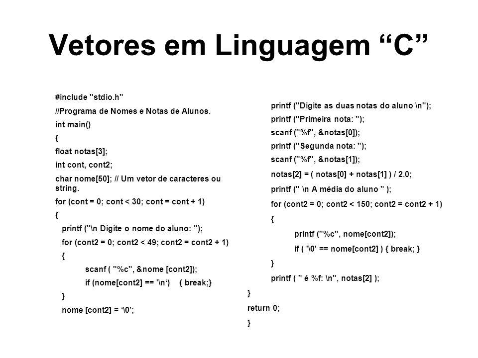 Vetores em Linguagem C