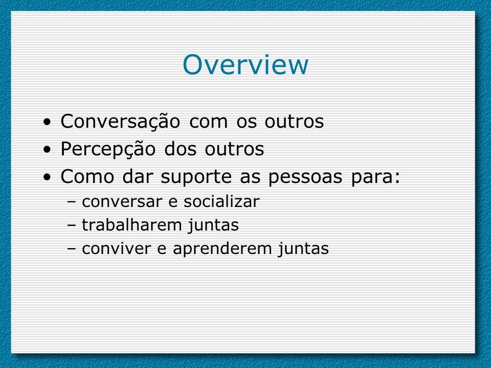 Overview Conversação com os outros Percepção dos outros