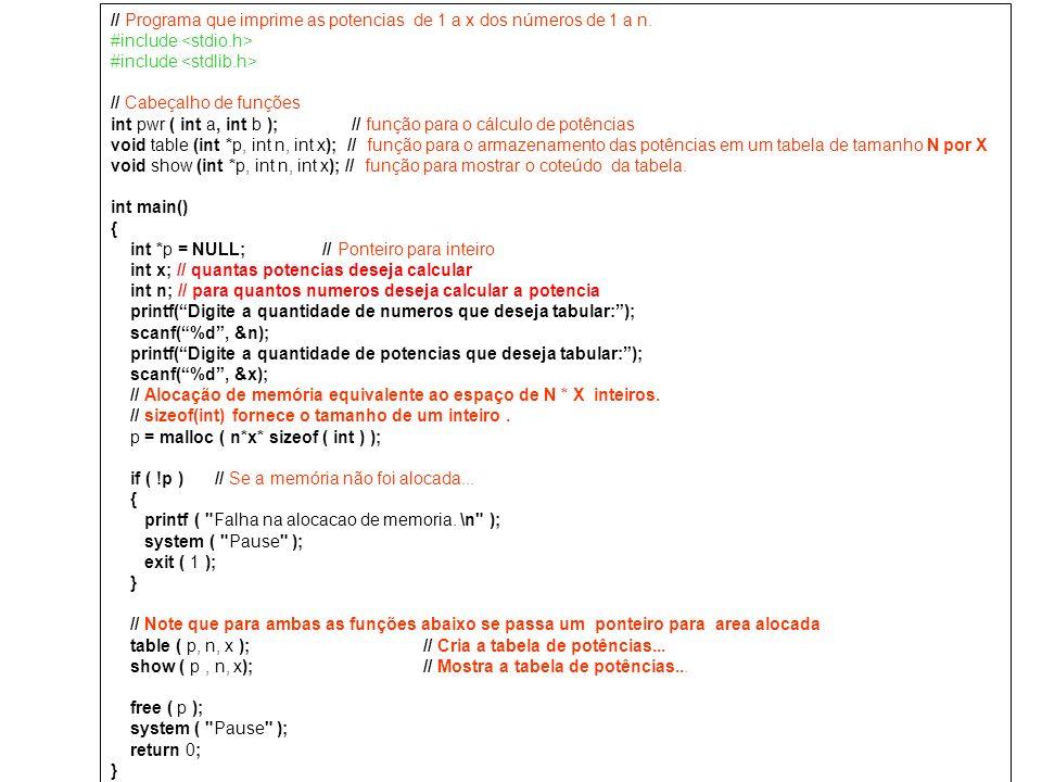 // Programa que imprime as potencias de 1 a x dos números de 1 a n.
