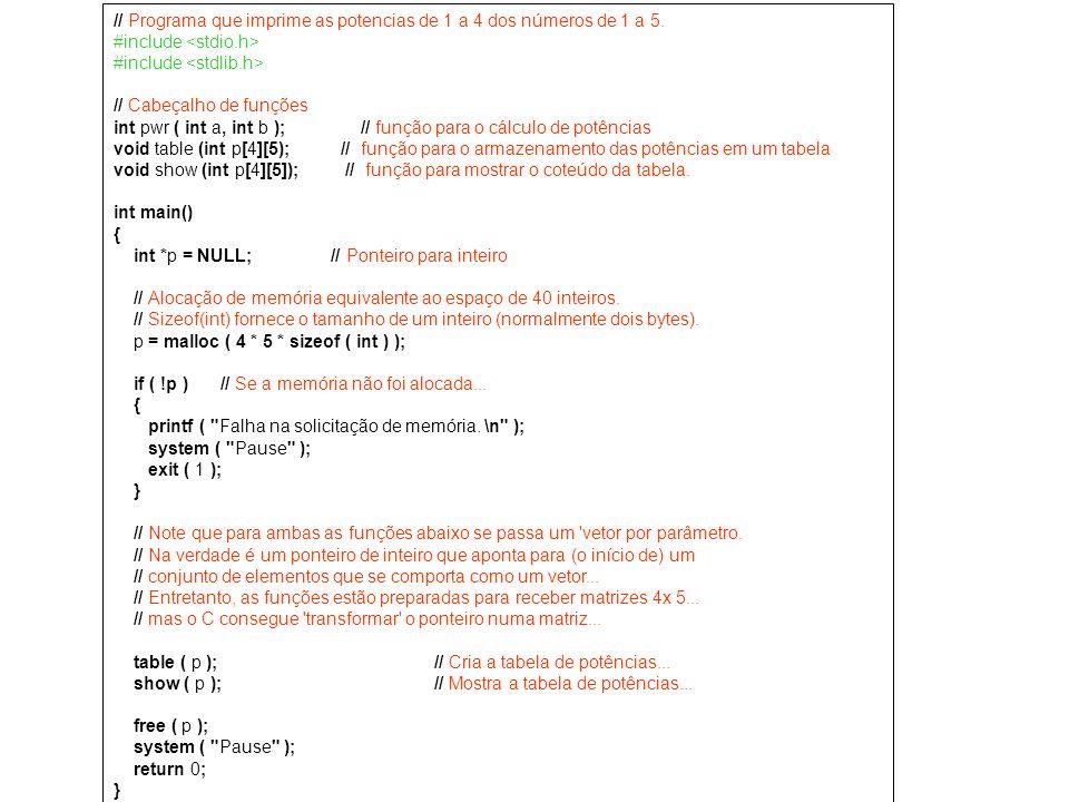 // Programa que imprime as potencias de 1 a 4 dos números de 1 a 5.