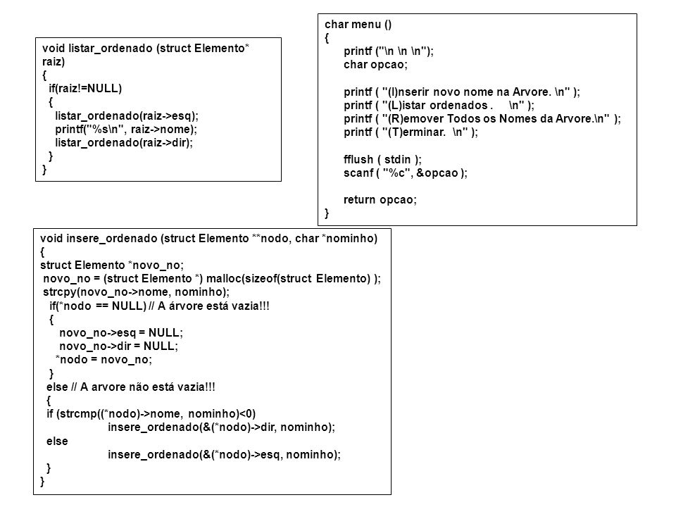 char menu () { printf ( \n \n \n ); char opcao; printf ( (I)nserir novo nome na Arvore. \n ); printf ( (L)istar ordenados . \n );