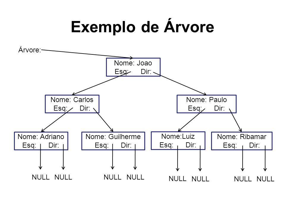 Exemplo de Árvore Árvore: Nome: Joao Esq: Dir: Nome: Carlos Esq: Dir: