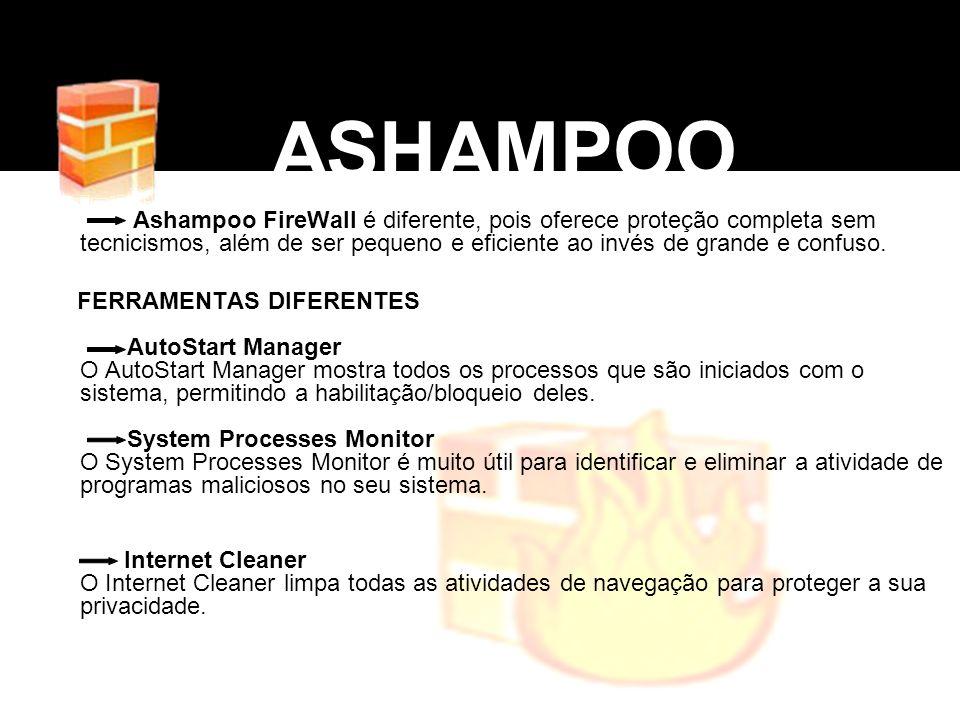 ASHAMPOO Ashampoo FireWall é diferente, pois oferece proteção completa sem tecnicismos, além de ser pequeno e eficiente ao invés de grande e confuso.