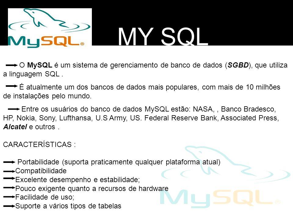 MY SQL O MySQL é um sistema de gerenciamento de banco de dados (SGBD), que utiliza a linguagem SQL .