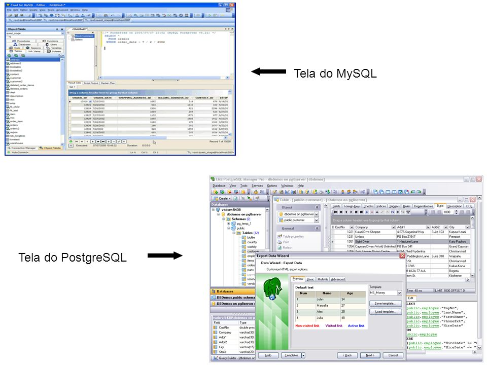 Tela do MySQL Tela do PostgreSQL