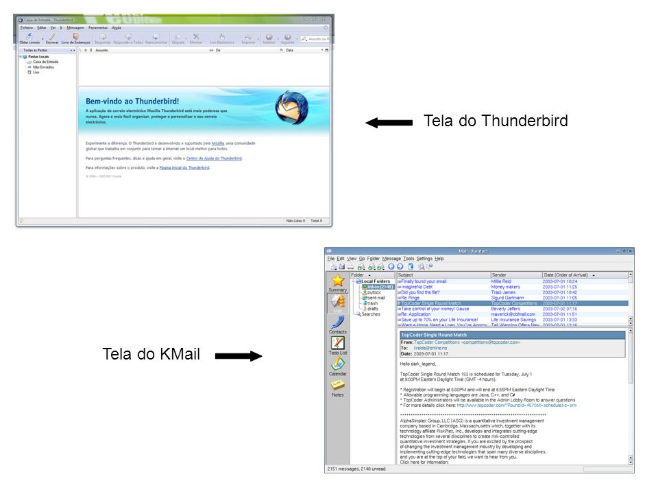 Tela do Thunderbird Tela do KMail