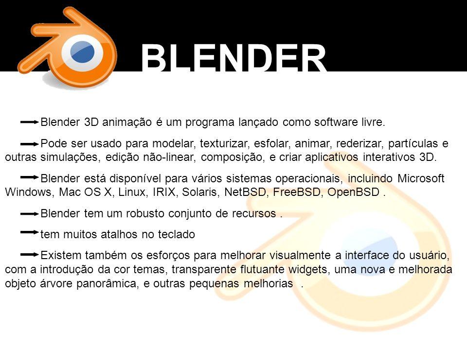 BLENDER Blender 3D animação é um programa lançado como software livre.