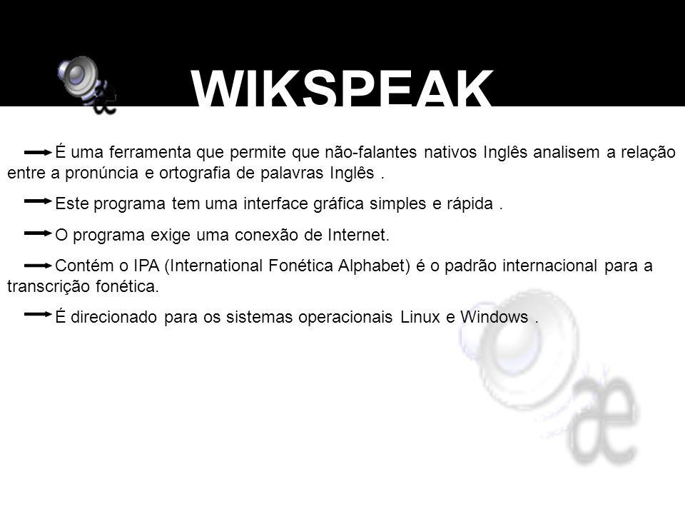 WIKSPEAK É uma ferramenta que permite que não-falantes nativos Inglês analisem a relação entre a pronúncia e ortografia de palavras Inglês .