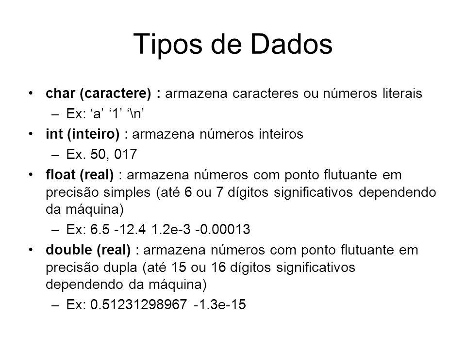 Tipos de Dados char (caractere) : armazena caracteres ou números literais. Ex: 'a' '1' '\n' int (inteiro) : armazena números inteiros.