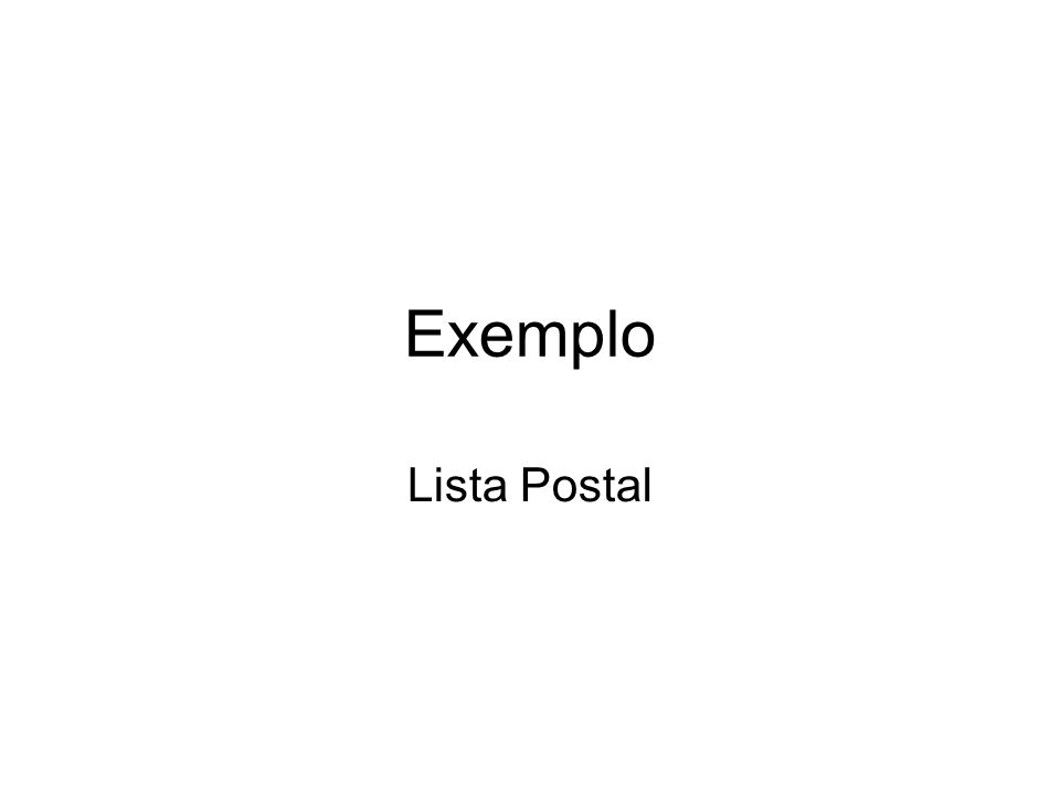 Exemplo Lista Postal