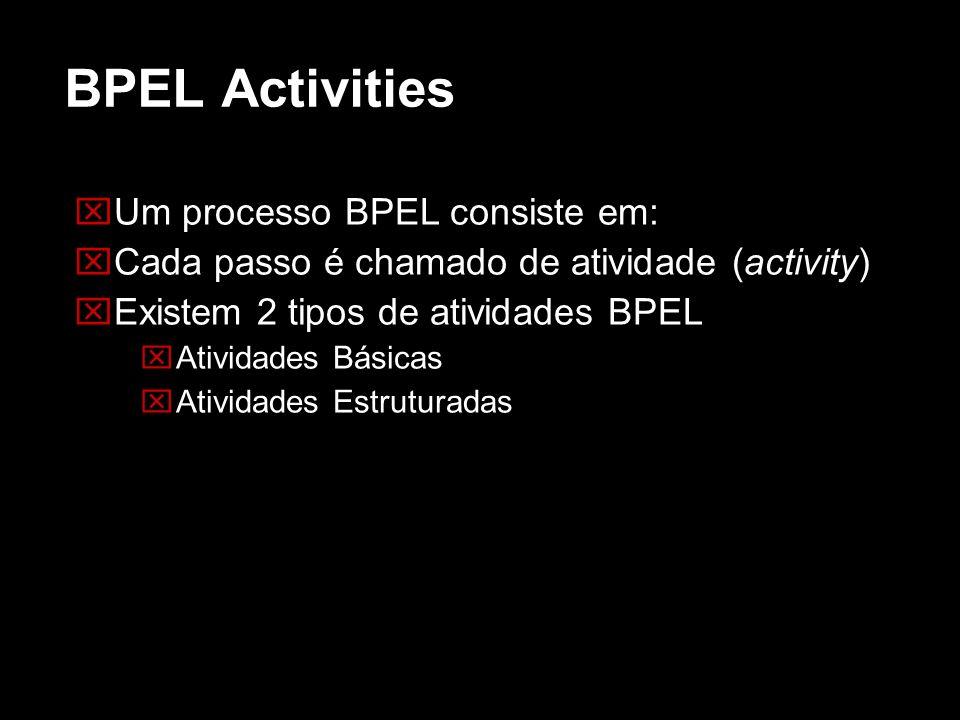 BPEL Activities Um processo BPEL consiste em: